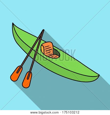 Green kayak for downhill on a mountain river.Sports water transport.Ship and water transport single icon in flat style vector symbol stock web illustration.