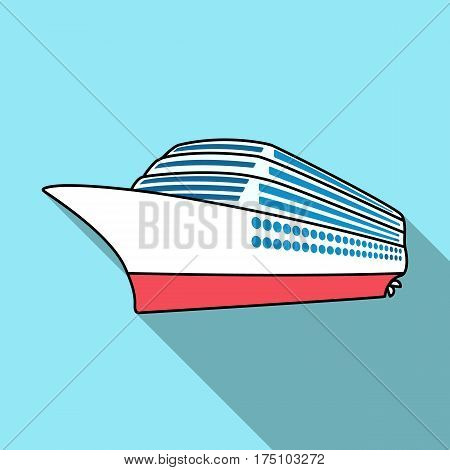 A huge cruise liner.Vehicle for travelling over long distances to a huge number of people.Ship and water transport single icon in flat style vector symbol stock web illustration.
