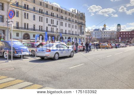 RUSSIA MOSCOW - April 24.2016: Rare ancient cars on the Theatre Square in the center of city