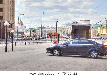 MOSCOW RUSSIA - April 24.2016: Parking of official cars in front of the Duma in Okhotny Ryad street
