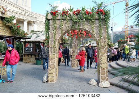 RUSSIA MOSCOW - April 24.2016: Easter festive fair before the Bolshoi Theatreon the Theatre Square