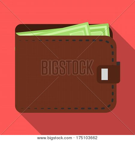 Black leather purse with money dollar. Taxi payment means. Taxi station single icon in flat style vector symbol stock web illustration.