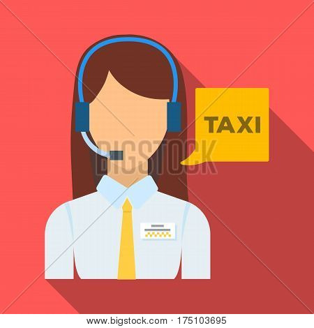 Girl in a white shirt with headphones.Call centre manager takes a taxi booking. Taxi station single icon in flat style vector symbol stock web illustration.