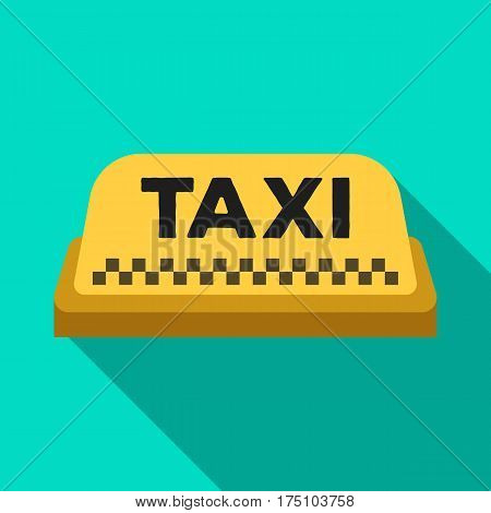 Yellow checker taxi with logo.Equipment taxi station for identification car. Taxi station single icon in flat style vector symbol stock web illustration.