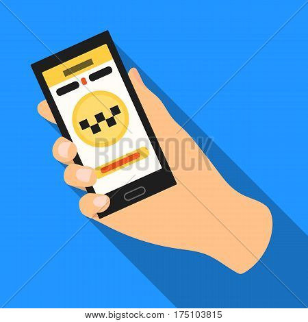 Hand holding a phone to call for order taksi.Programm car taxi online. Taxi station single icon in flat style vector symbol stock web illustration.