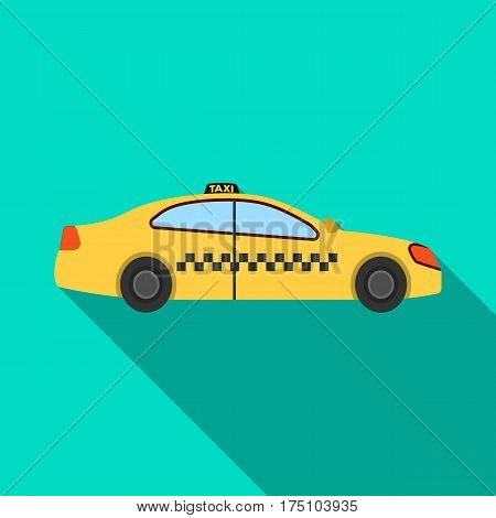 Yellow taxi car in profile.Transport taxi station for passengers. Taxi station single icon in flat style vector symbol stock web illustration