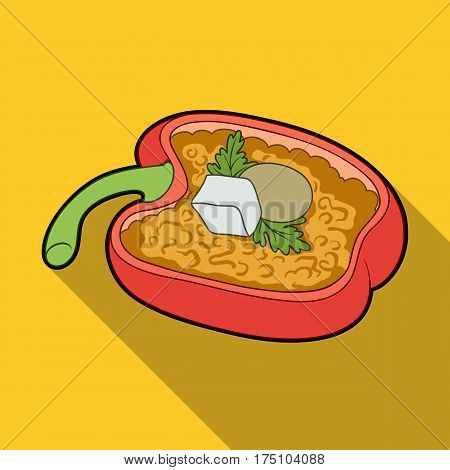 Red sweet pepper stuffed with vegetables.Healthy vegetarian dish.Vegetarian Dishes single icon in flat style vector symbol stock web illustration.