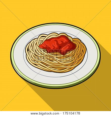 The dish in which wheat spaghetti with red sauce.Main dish vegetarian.Vegetarian Dishes single icon in flat style vector symbol stock web illustration.