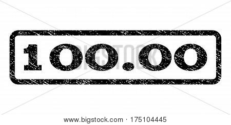 100.00 watermark stamp. Text tag inside rounded rectangle frame with grunge design style. Rubber seal stamp with scratched texture. Vector black ink imprint on a white background.