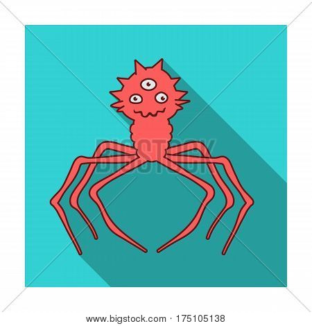 Red virus icon in flat design isolated on white background. Viruses and bacteries symbol stock vector illustration.