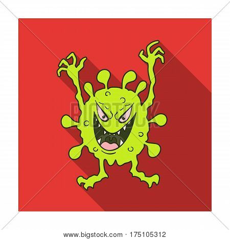 Green virus icon in flat design isolated on white background. Viruses and bacteries symbol stock vector illustration.