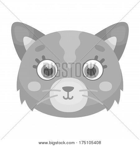 Cat muzzle icon in monochrome design isolated on white background. Animal muzzle symbol stock vector illustration.