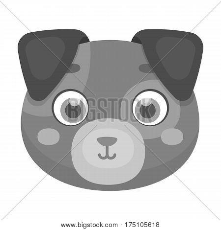Dog muzzle icon in monochrome design isolated on white background. Animal muzzle symbol stock vector illustration.