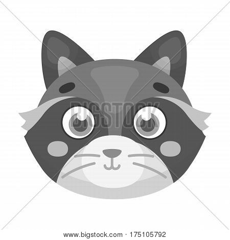 Raccoon muzzle icon in monochrome design isolated on white background. Animal muzzle symbol stock vector illustration.