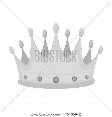 Golden crown with diamonds the winner of the beauty contest.Awards and trophies single icon in monochrome style vector symbol stock web illustration.