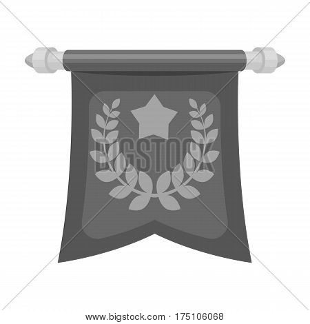 A red flag on a gold pole with the emblem of the first Olympics.Awards and trophies single icon in monochrome style vector symbol stock web illustration.