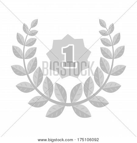 A Golden wreath from the metal.The reward for first place.Awards and trophies single icon in monochrome style vector symbol stock web illustration.