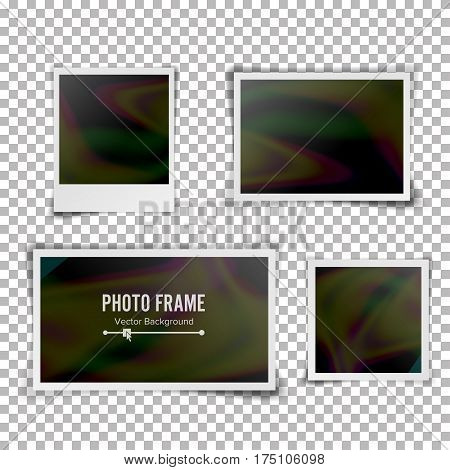 Instant Photo Frame Vector. Blank Vintage Photo Frame Mockup Isolated On Transparent Background. Vintage style. Photorealistic Vector. Retro Instant Photo Frame