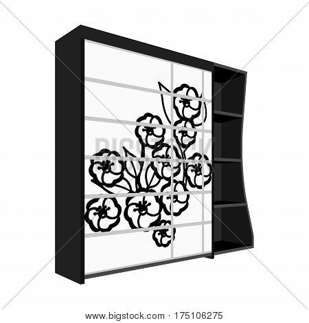 Black bedroom wardrobe with cells.Wardrobe with a beautiful rose on the door.Bedroom furniture single icon in monochrome style vector symbol stock web illustration.