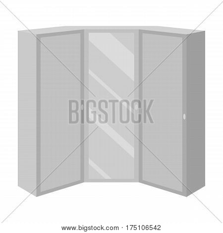 Pink wardrobe with two doors and a mirror.Bedroom wardrobe.Bedroom furniture single icon in monochrome style vector symbol stock web illustration.