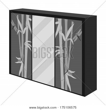 Wardrobe with mirror and green doors. the place for clothes.Bedroom furniture single icon in monochrome style vector symbol stock web illustration.
