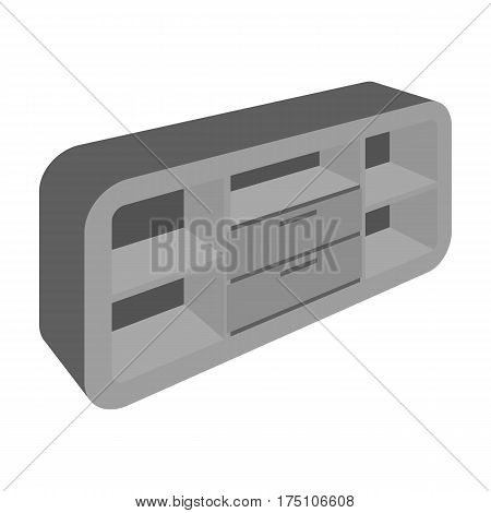 Wooden Cabinet with lockers and cupboards.TV stand.Bedroom furniture single icon in monochrome style vector symbol stock web illustration.