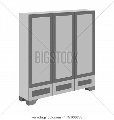 Bedroom wardrobe for clothing.Bedroom furniture for clothes.Bedroom furniture single icon in monochrome style vector symbol stock web illustration.