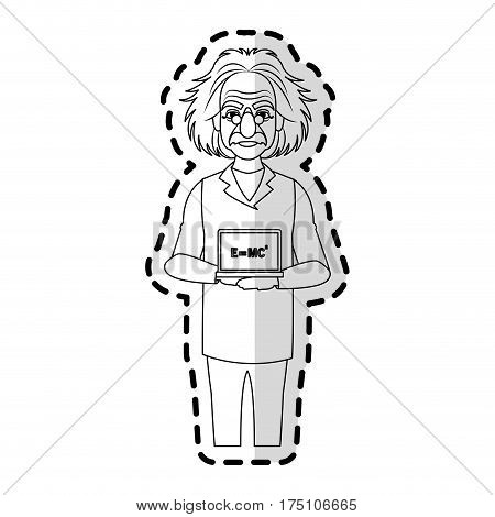 albert einstein icon image sticker vector illustration design