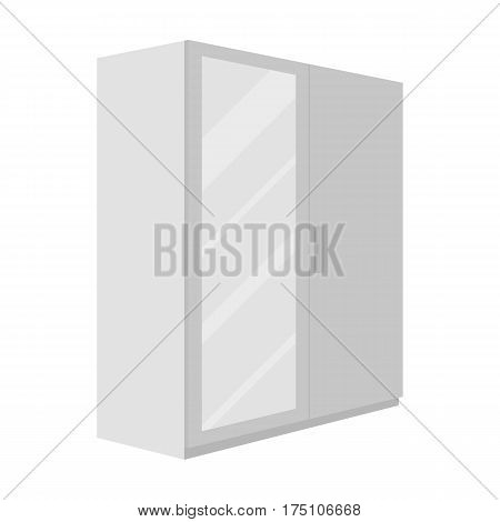 A small wardrobe with a clean mirror.Bedroom furniture single icon in monochrome style vector symbol stock web illustration.