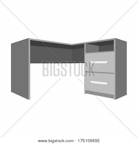 Grey desk with lockers.Desk for paperwork.Workplace and job, office, working symbol.Bedroom furniture single icon in monochrome style vector symbol stock web illustration.