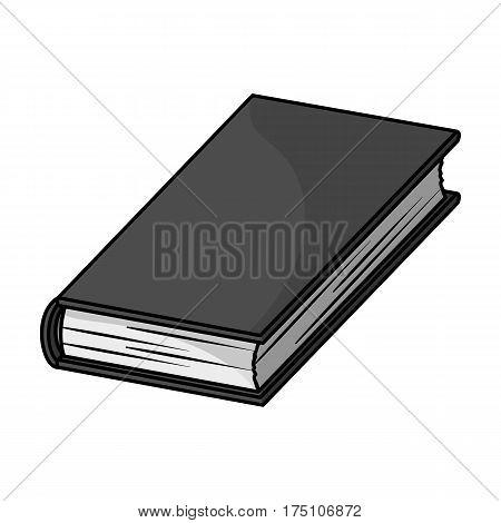Black book icon in monochrome design isolated on white background. Books symbol stock vector illustration.