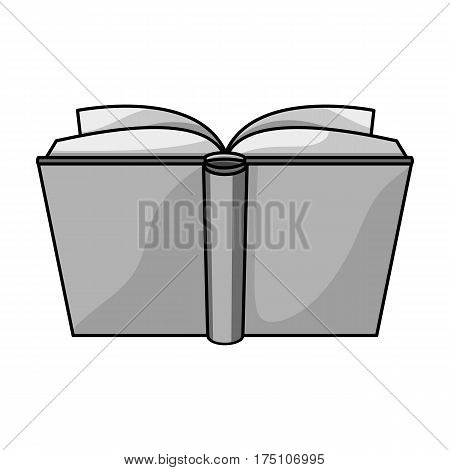 Blue opened book icon in monochrome design isolated on white background. Books symbol stock vector illustration.