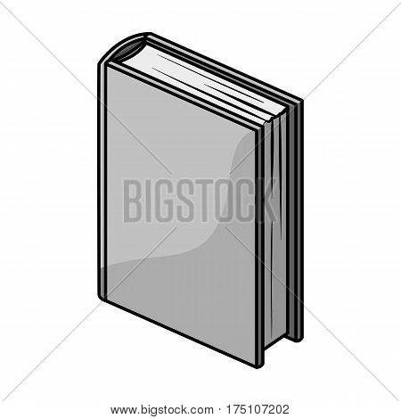 Purple standing book icon in monochrome design isolated on white background. Books symbol stock vector illustration.
