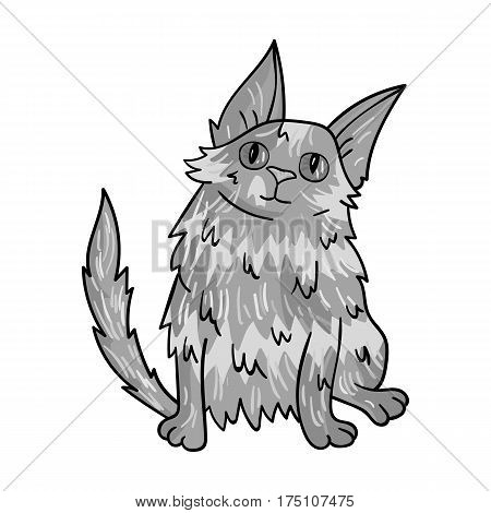 Turkish Angora icon in monochrome design isolated on white background. Cat breeds symbol stock vector illustration.