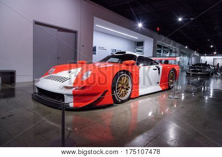 Los Angeles, CA, USA -- March 4, 2017: White and red 1997 Porsche 911 GT1 from the collection of Kerry Morse at the Petersen Automotive Museum in Los Angeles, California, United States. Editorial only.