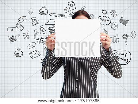 Digitally generated image of female executive holding blank placard
