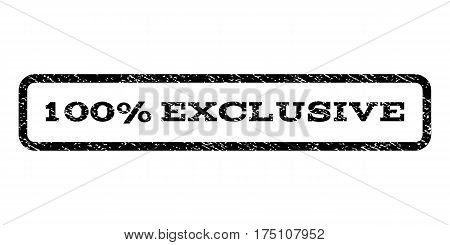 100 Percent Exclusive watermark stamp. Text tag inside rounded rectangle with grunge design style. Rubber seal stamp with scratched texture. Vector black ink imprint on a white background.