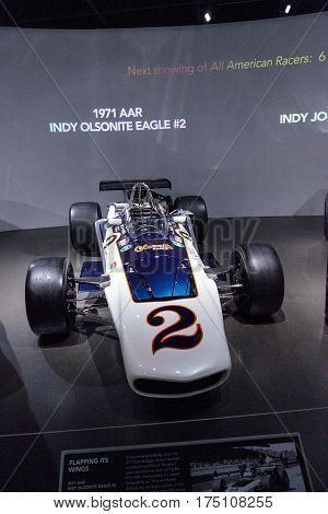 Los Angeles CA USA - March 4 2017: White 1971 AAR Indy Olsonite Eagle number 2 race car at the Petersen Automotive Museum in Los Angeles California United States. Editorial only.
