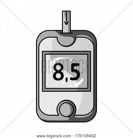 A device for measuring the level of blood sugar.Equipping the patient with diabetes.Diabetes single icon in monochrome style vector symbol stock web illustration.