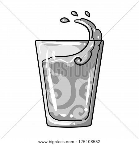 Transparent glass with water. Water to take my pills insulin for diabetics.Diabetes single icon in monochrome style vector symbol stock web illustration.