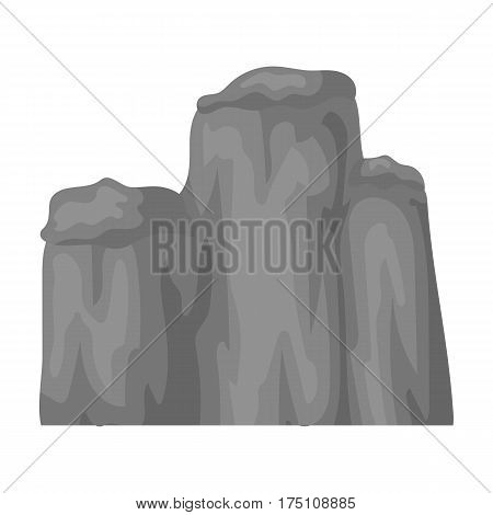 High green mountain with bushes on top.Different mountains single icon in monochrome style vector symbol stock web illustration.