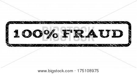 100 Percent Fraud watermark stamp. Text caption inside rounded rectangle frame with grunge design style. Rubber seal stamp with unclean texture. Vector black ink imprint on a white background.