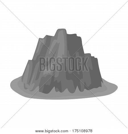 High steep mountain with grass the dark colors with sharp spikes.Different mountains single icon in monochrome style vector symbol stock web illustration.