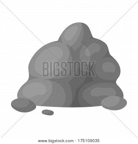 The small gray slide.A mountain that consists of a large number of small stones.Different mountains single icon in monochrome style vector symbol stock web illustration.