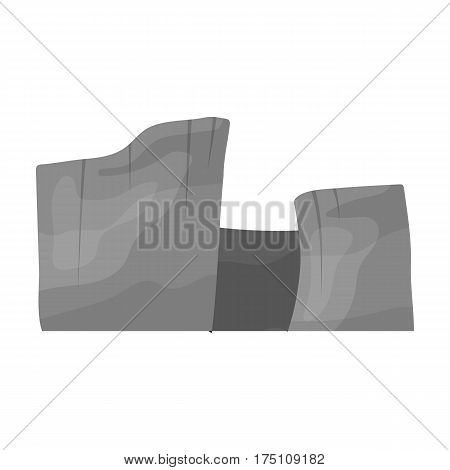 Rectangular high mountains of Sandstone.Desert mountains.Different mountains single icon in monochrome style vector symbol stock web illustration.