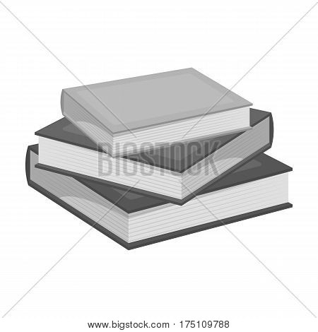 Stack of books icon in monochrome design isolated on white background. Library and bookstore symbol stock vector illustration.