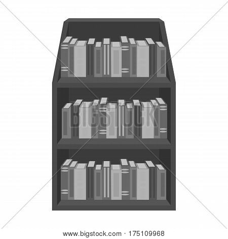 Bookcase icon in monochrome design isolated on white background. Library and bookstore symbol stock vector illustration.