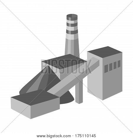 The plant with the pipe.Factory on processing of minerals from the mine.Mine Industry single icon in monochrome style vector symbol stock web illustration.