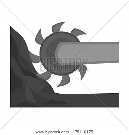 Large cutting wheel. Machine for extraction of minerals.Mine Industry single icon in monochrome style vector symbol stock web illustration.