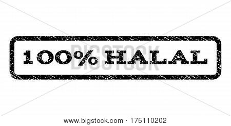100 Percent Halal watermark stamp. Text tag inside rounded rectangle with grunge design style. Rubber seal stamp with unclean texture. Vector black ink imprint on a white background.